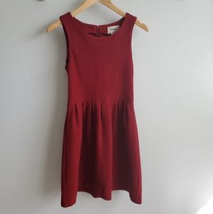 Ganni red knit fit and flare dress XS